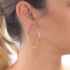 #22 New 18kt Gold P Hinged Hoop Earrings Medium